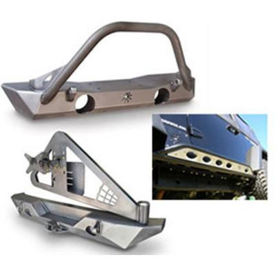 Genuine Packages Poison Spyder Brawler Front Bumper, Rear Bumper with Tire Carrier and Rocker Knockers (Bare) - JKSPECIAL12
