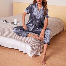 Satin Schlafanzug Set mit Herzen Muster