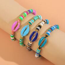 4 Stuecke Armband mit Schale Detail und Farbblock