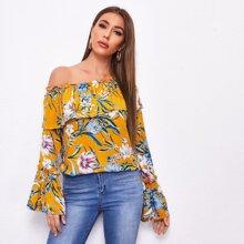 Schulterfreie Bluse mit Blumen Muster und Schosschen