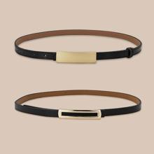 2pcs Rectangle Buckle Belt