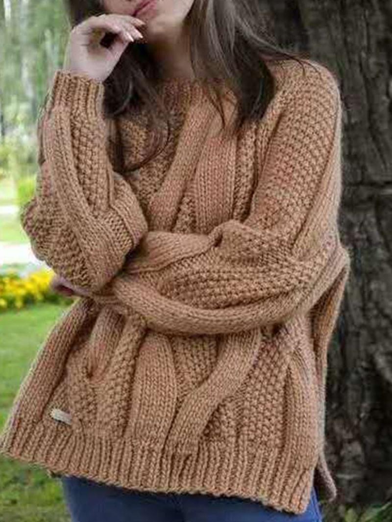Ericdress Thick Regular Long Sleeve Round Neck Sweater