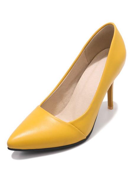 Milanoo Black High Heels Women Dress Shoes Plus Size Pointed Toe Slip On Pumps