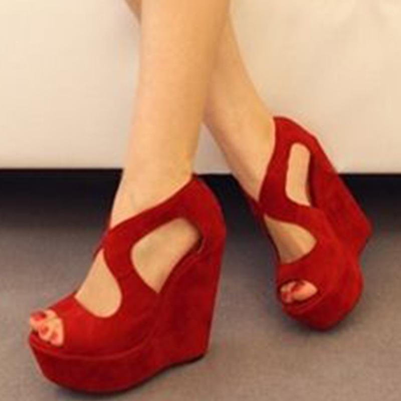 Ericdress Peep Toe Platform Wedge Heel