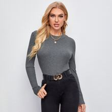 Rib-knit Fitted Top