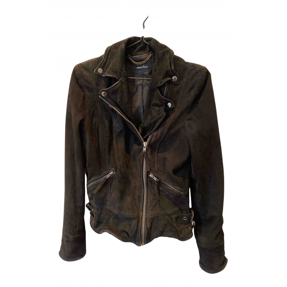 Muubaa N Black Suede Leather jacket for Women 8 UK