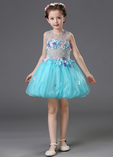 Milanoo Blue Flower Girl Dress Tulle Sleeveless Flowers Beading A-Line Toddlers Pageant Dress
