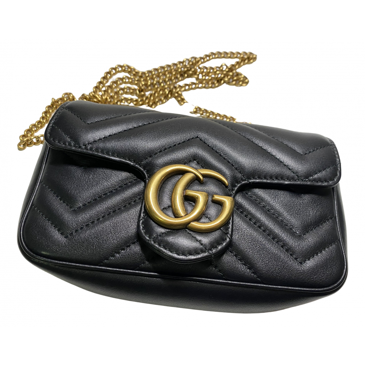 Gucci Marmont Handtasche in  Schwarz Leder