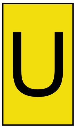 HellermannTyton Ovalgrip Slide On Cable Marker, Pre-printed U Black on Yellow 1.7 → 3.6mm Dia. Range