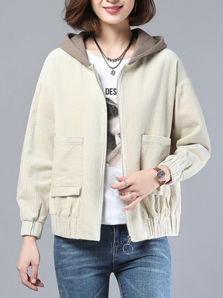 Corduroy Patchwork Plus Size Hooded Coat with Pockets