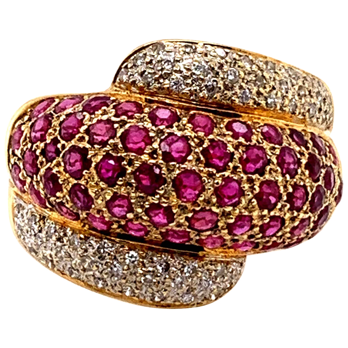 Non Signe / Unsigned Rubis Ring in  Gelb Gelbgold