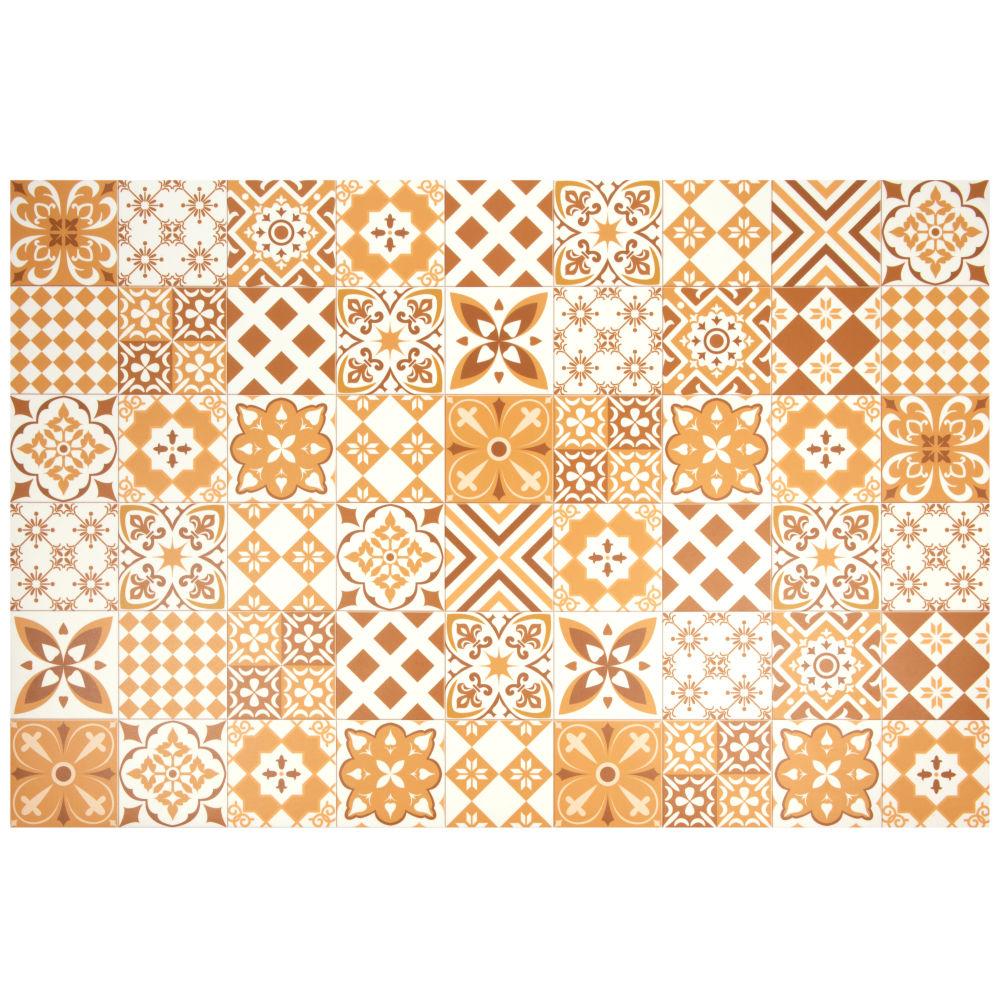 Vinyl-Teppich mit Zementfliesen-Motiven, ocker und weiss 100x150
