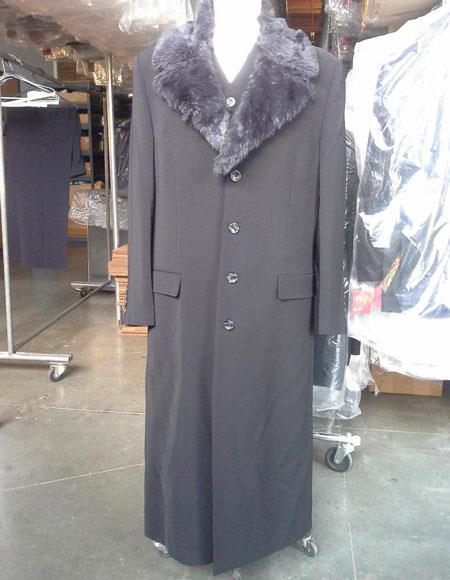 Black Vested Maxi Coat Microfiber Fur Collar With Vest & Pants