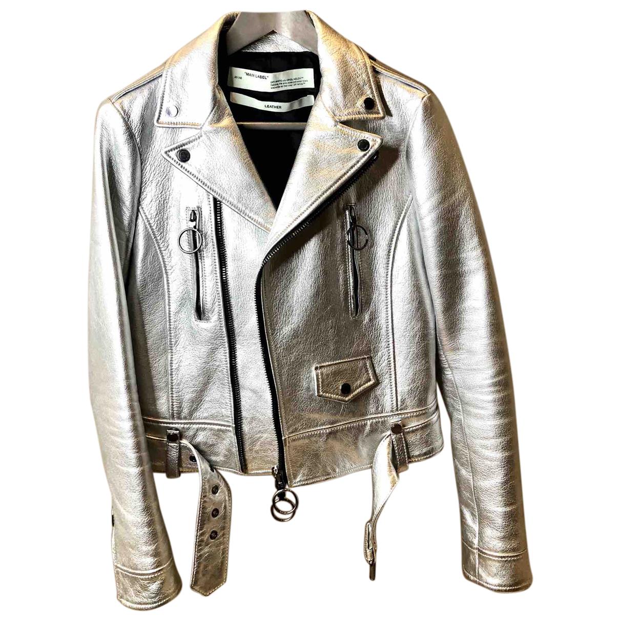 Off-white \N Jacke in  Silber Leder