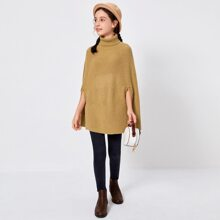 Girls Funnel Neck Poncho Sweater