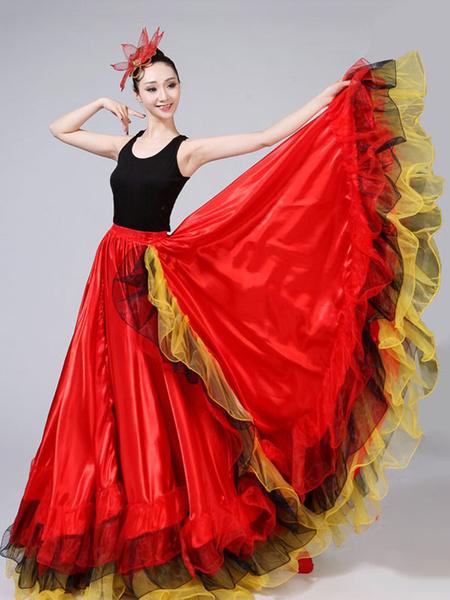 Milanoo Flamenco Girls Yellow Mesh Dancing Skirt Adults Spanish Dancer Ballroom Dress Paso Doble Costumes Halloween