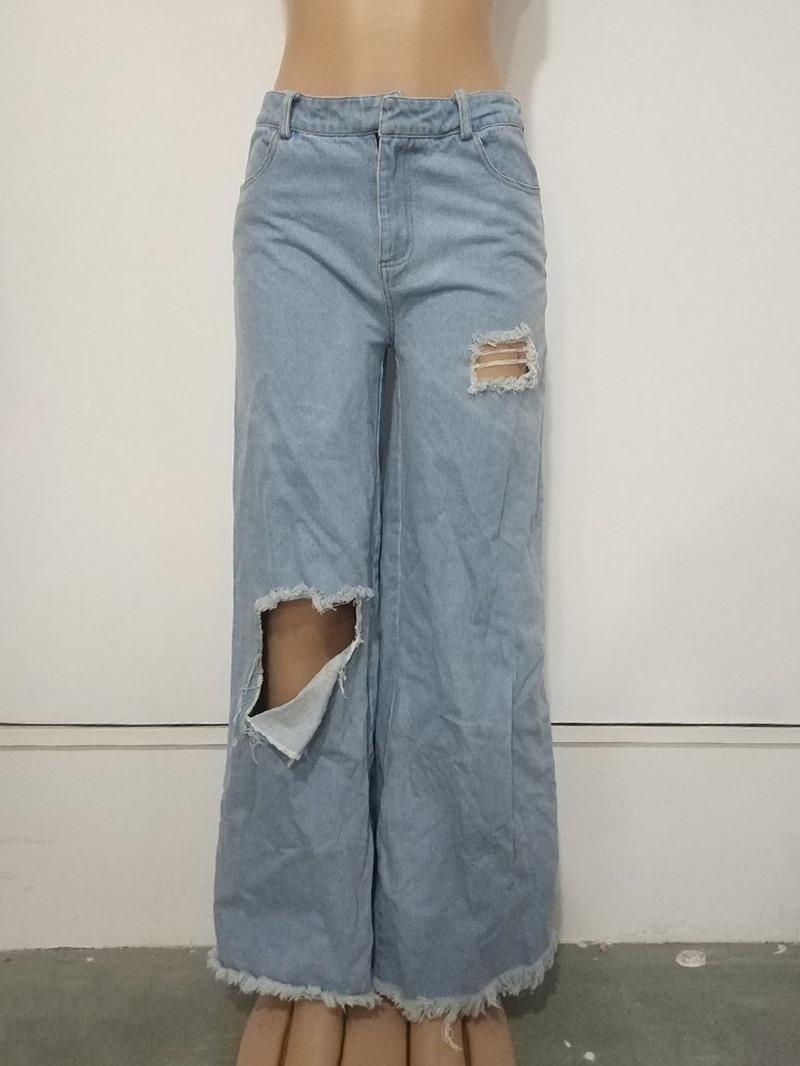 Ericdress Hole Plain Loose Wide Legs Full Length Casual Pants