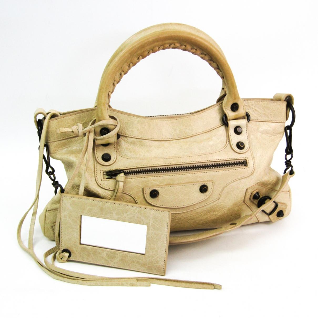 Balenciaga City Beige Leather handbag for Women \N