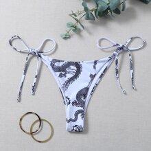 Bikini Hoschen mit chinesischen Drachen Muster und seitlichem Band