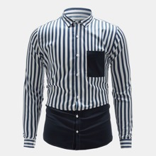 Hemd mit Kontrast Einsatz und Streifen