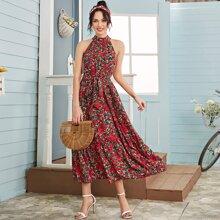 Kleid mit Blumen Muster, Guertel und Neckholder