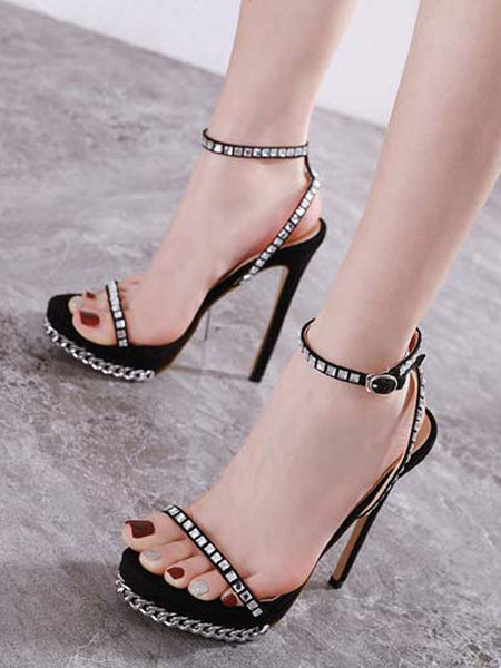 Milanoo Women\s Sexy Sandals High Heels Open Toe Stiletto Heel Rhinestones Chic Apricot Ankle Strap Sexy Sandals