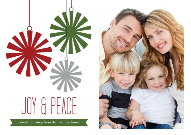 Holiday Photo Cards 5x7 Cards, Premium Cardstock 120lb, Card & Stationery -Joy & Peace Ornament