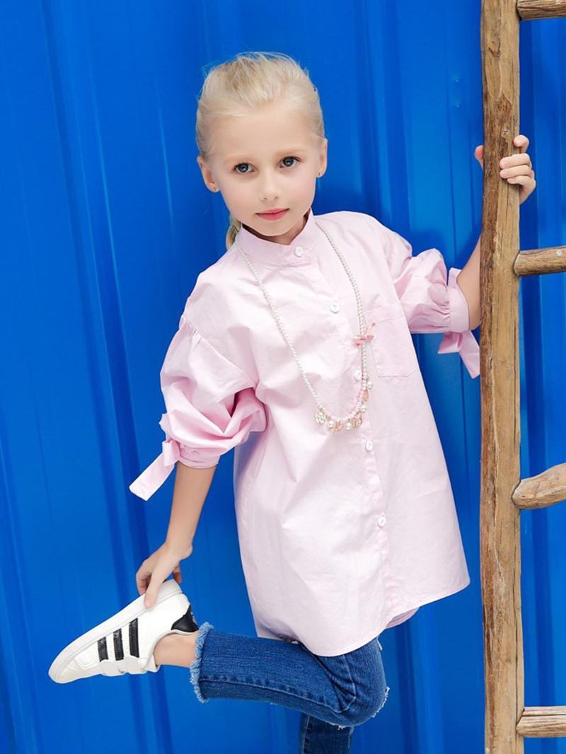 Ericdress Lantern Sleeve Bowknot Stand Collar Plain Girls Shirt