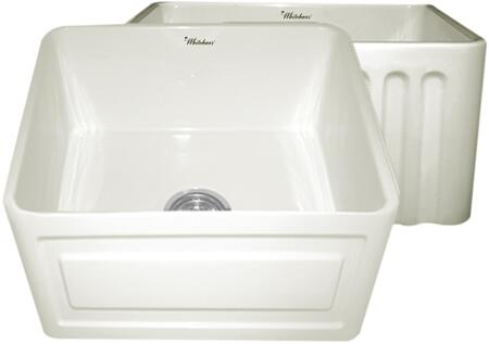 WHFLRPL2018-BISCUIT Reversible series fireclay sink with Raised Panel front apron on one side and fluted front apron on