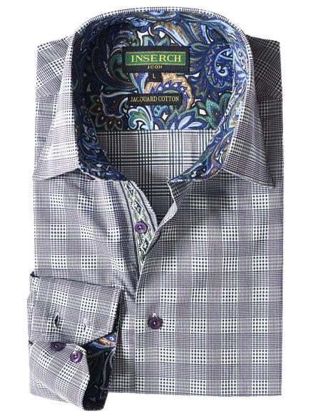 Mens Navy Plaid Cotton Jacquard With Contrast Trimming Shirt