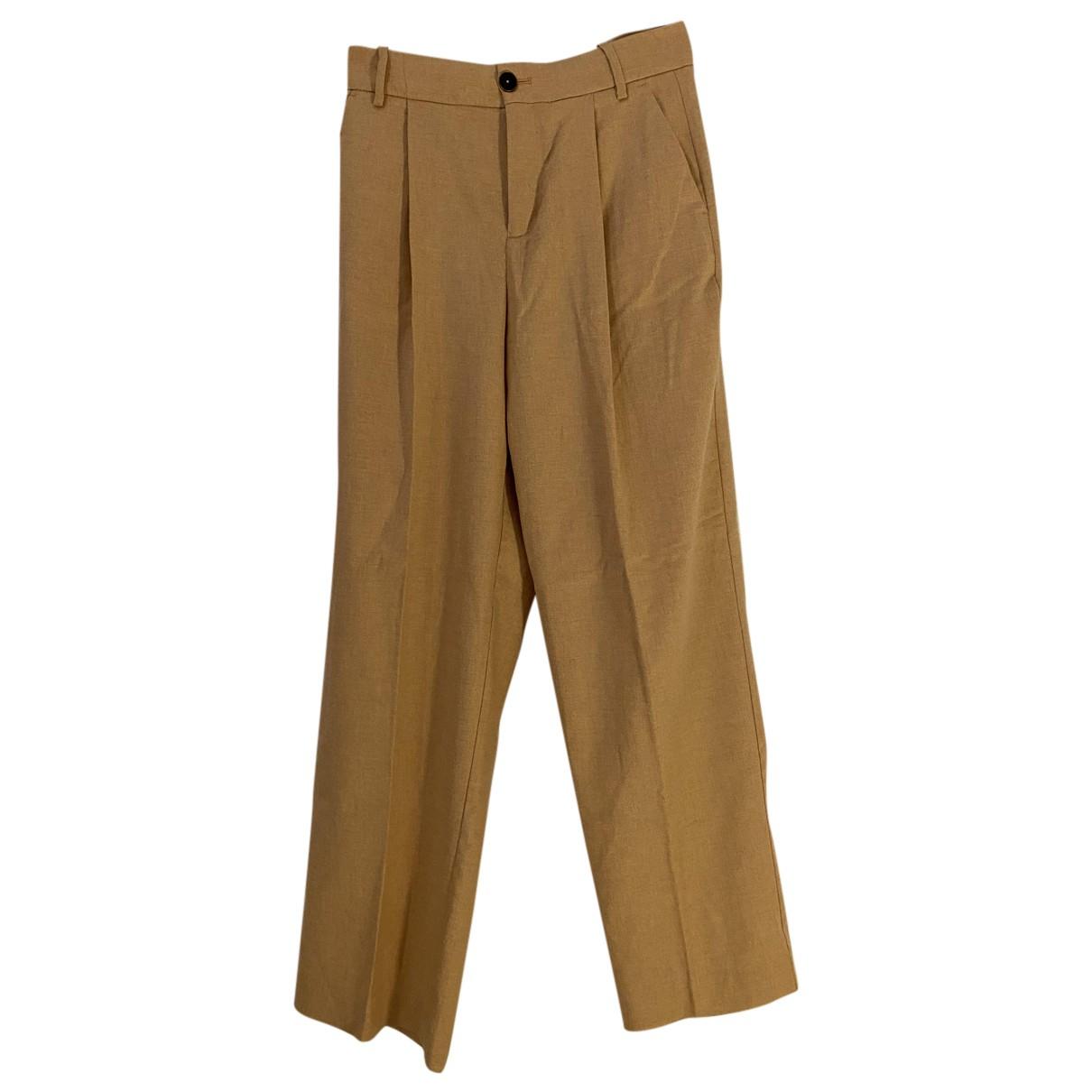 Mango N Camel Wool Trousers for Women 42 IT