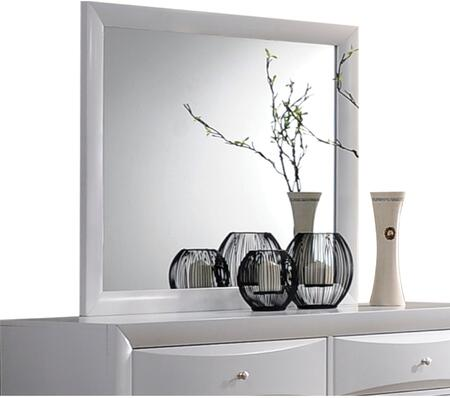 Ireland Collection 21705 39 x 35 Mirror with Rectangle Shape  Medium-Density Fiberboard (MDF)  Rubberwood and Okume Veneer Materials in White