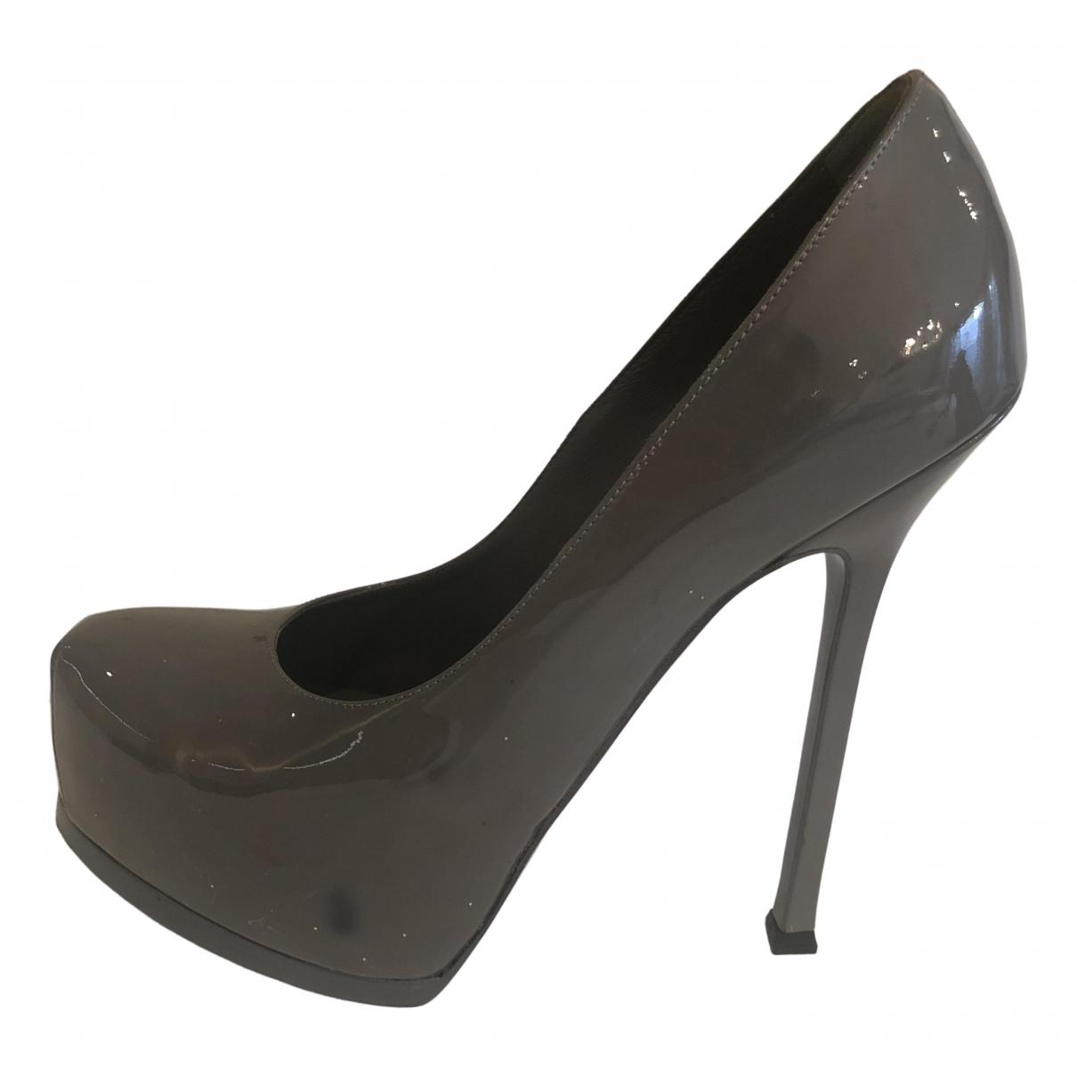 Yves Saint Laurent Trib Too Grey Patent leather Heels for Women 38.5 EU