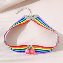 Cherry Decor Rainbow Striped Choker