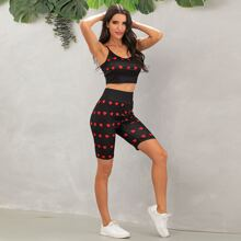 Heart Print Cami Top & Biker Shorts