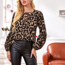Lace Up Neckline Leopard Top