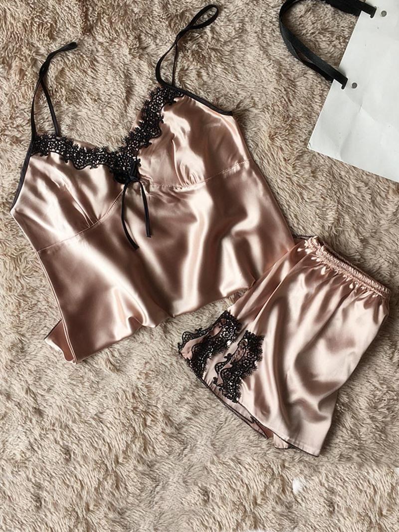 Ericdress Women Lace Satin Pajama Camisole Short Sets Sexy Nightwear