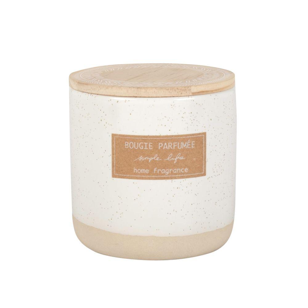 Duftkerze im Keramikgefaess, elfenbeinfarben
