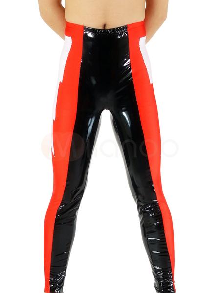 Milanoo Black & Red Pattern Shiny Metallic Wrestling Unisex Trousers Bottom