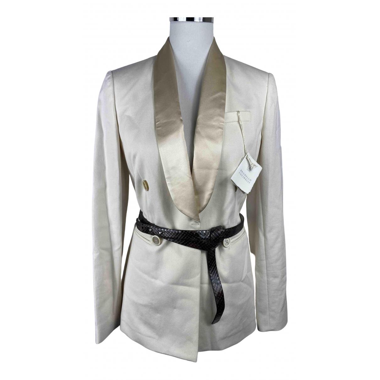 Brunello Cucinelli \N Beige Cotton jacket for Women 42 IT