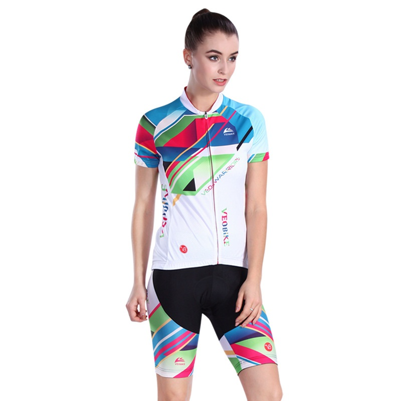 3D Padded Pants Short Sleeve Rainbow Line Women's Cycling Jersey