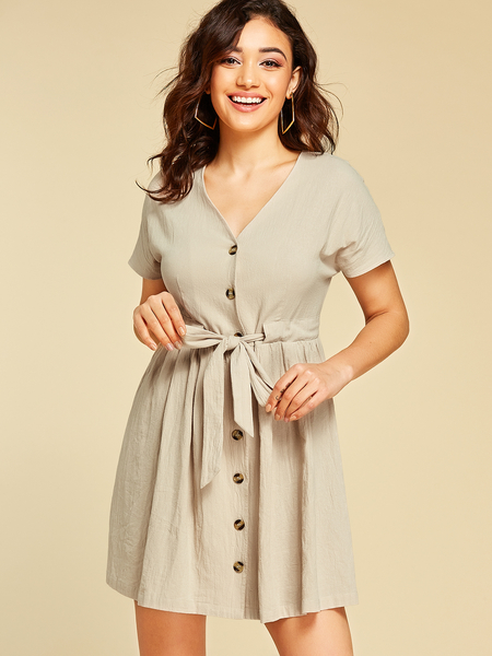 YOINS Apricot Button Design V-neck Drawstring Waist Dress