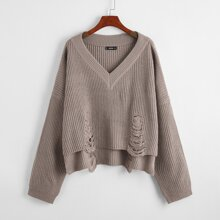 High Low Hem Ripped Detail Sweater