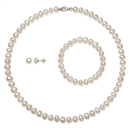 White Cultured Freshwater Pearl Sterling Silver 3-pc. Jewelry Set, One Size , No Color Family