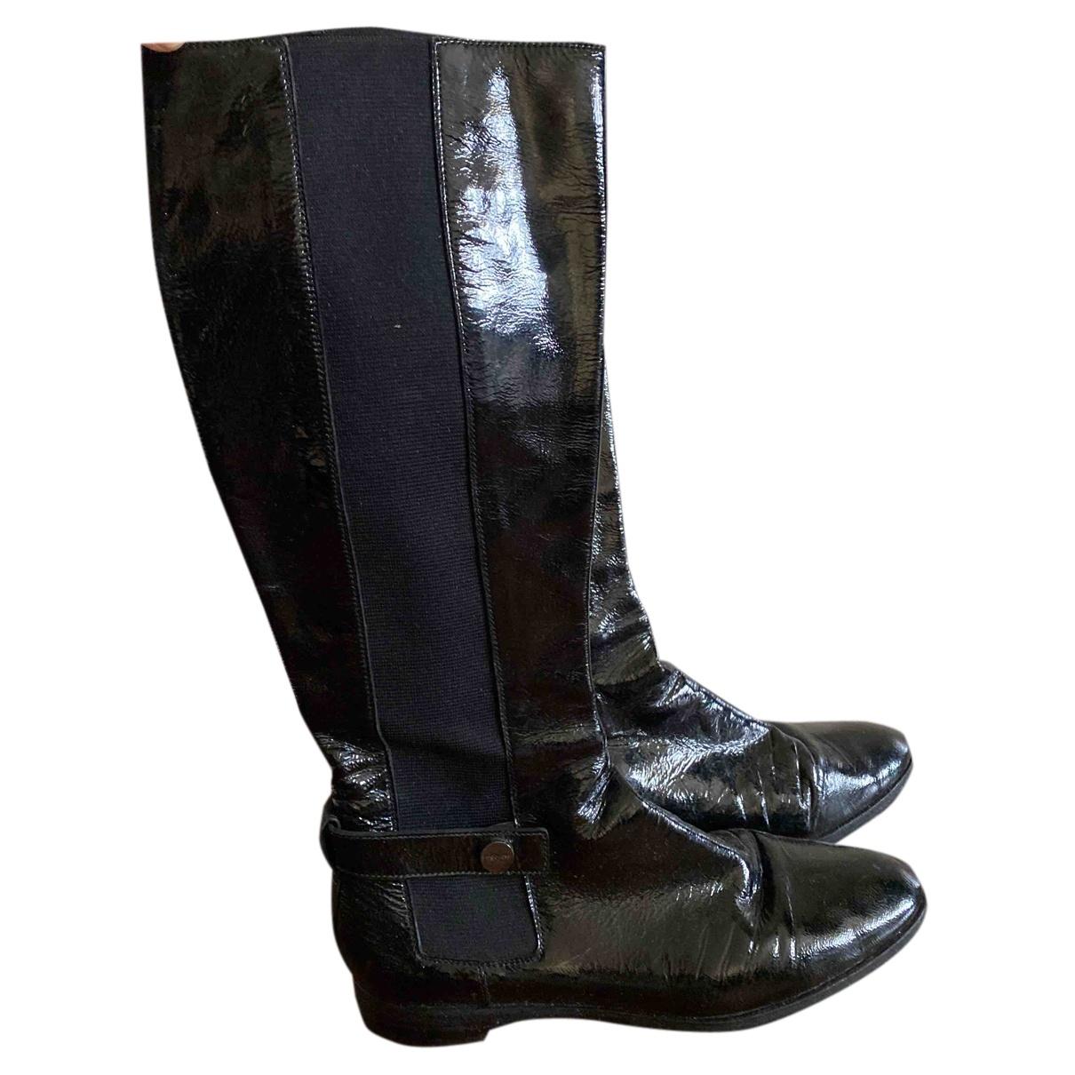 Sergio Rossi \N Stiefel in  Schwarz Lackleder