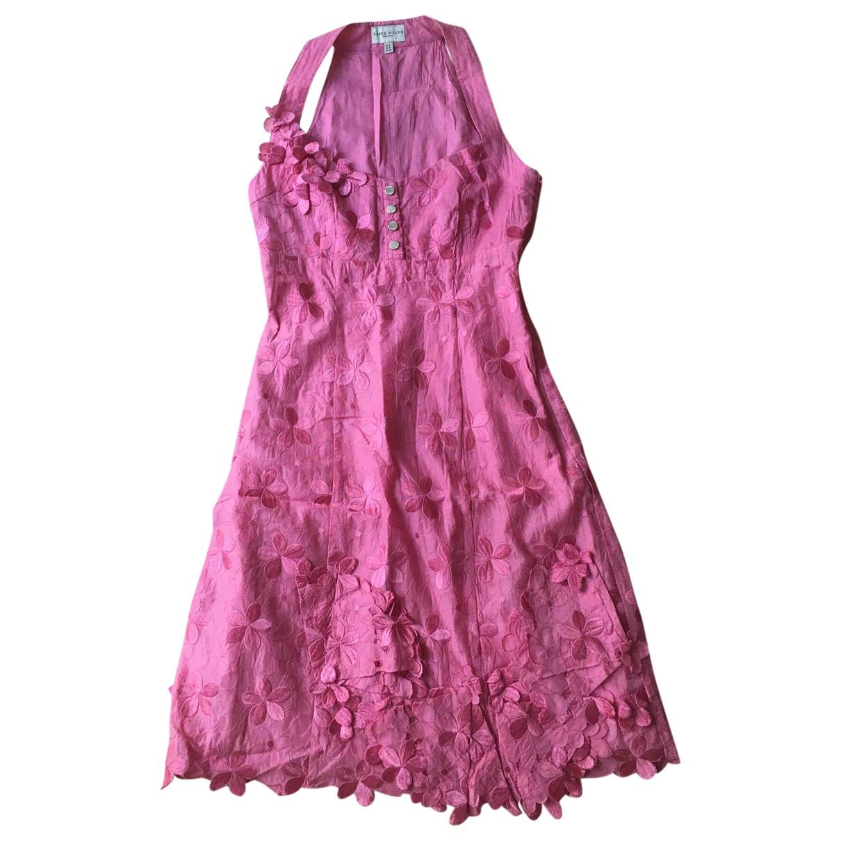 Karen Millen \N Pink Cotton dress for Women 8 UK