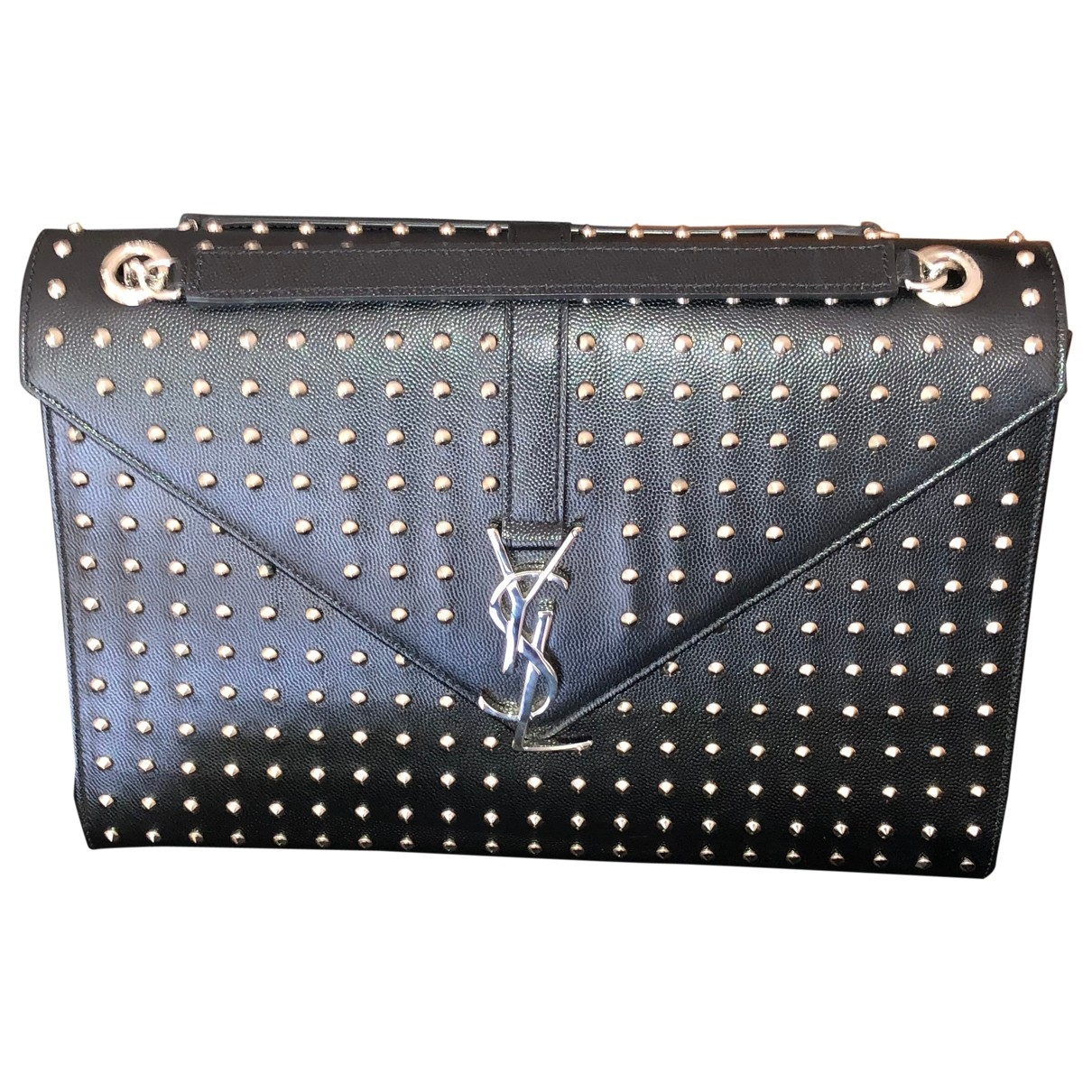 Saint Laurent Satchel monogramme Handtasche in  Schwarz Leder