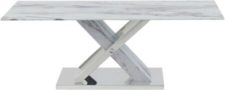 Global Furniture USA T1274C Coffee Table with Marble with Top Glass Marble Legs and Hardware Marble  Stainless Steel Base in Faux Marble and