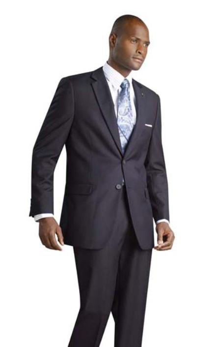 2 Button Shiny Flashy Metalic Silk Touch Midnight Navy Suit