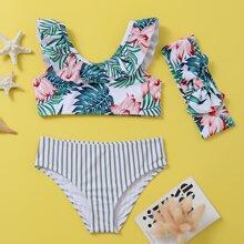 Toddler Girls Tropical & Striped Bikini Swimsuit & Headband